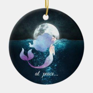 Personalized Mermaid Swimming, At Peace, Full Moon Ceramic Ornament