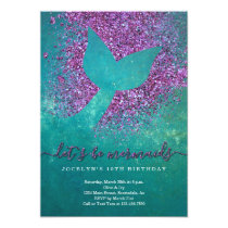 Personalized Mermaid Themed Birthday Party Card