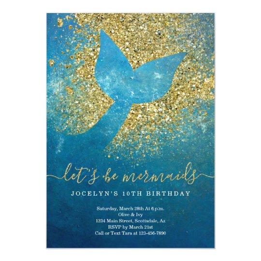 Personalized Mermaid Themed Birthday Party Invitation