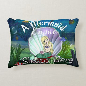 Beach Themed Personalized Mermaid Under the Sea Pillow
