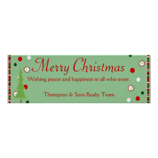 Personalized Merry Christmas Banner Poster