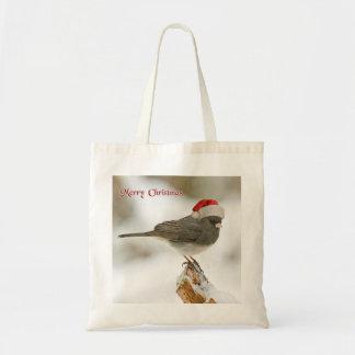 Personalized Merry Christmas Bird Santa Hat Tote Bag