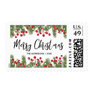 Personalized Merry Christmas Botanical Pine Berry Postage