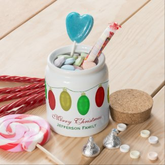 Personalized Merry Christmas Candy Jar
