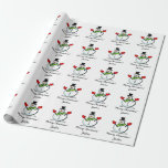 """Personalized Merry Christmas cute white snowman Wrapping Paper<br><div class=""""desc"""">Custom Merry Christmas greeting white snowman wrapping paper for kids and adults. Cute winter Holiday illustration with black hat, green scarf and red gloves. Suitable for men, women, boys and girls. Add your own personalized seasons greeting and name. Happy Holidays gift wrap pattern. Change quantity to get the cheap bulk...</div>"""