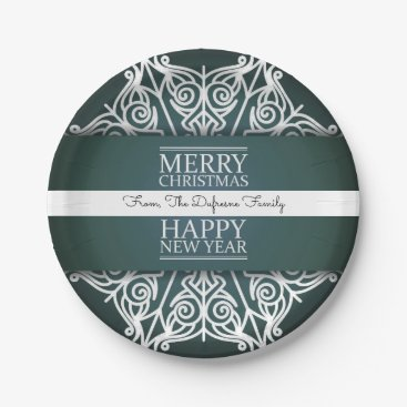 """think_out_loud Personalized """"Merry Christmas & Happy New Year"""" Paper Plate"""