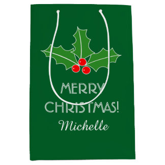 Personalized Merry Christmas holly leaves gift bag