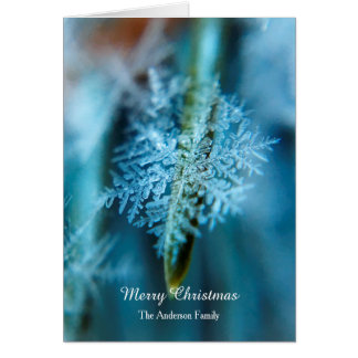 "Personalized ""Merry Christmas"" Ice Crystal Snow Card"