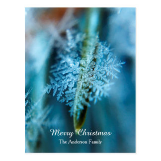 """Personalized """"Merry Christmas"""" Ice Crystal Snow Postcard"""