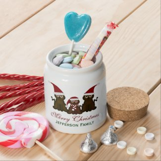 Personalized Merry Christmas Kitty Candy Jar