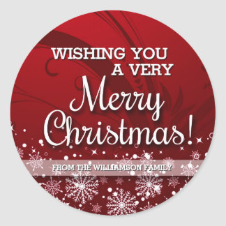 Personalized Merry Christmas (red) Classic Round Sticker