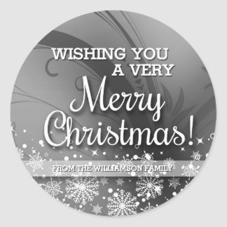 Personalized Merry Christmas (silver) Classic Round Sticker