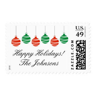 Personalized Merry Christmas stamps with balls