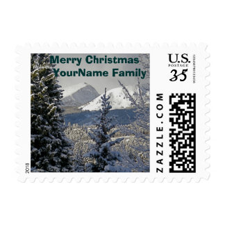 Personalized Merry Christmas Winter Snow Postage