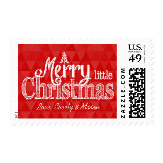 Personalized Merry Little Christmas Abstract Trees Postage