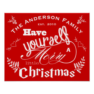Personalized Merry Little Christmas Red White Poster