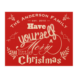 Personalized Merry Little Christmas Red Wood Print