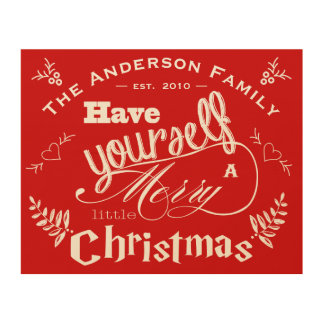 Personalized Merry Little Christmas Red Wood Wall Art