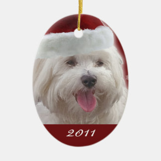Personalized Merry Maltese First Christmas Ornamen Ceramic Ornament