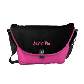 Personalized Messenger Bag, Any Name, Pink & Black Messenger Bag