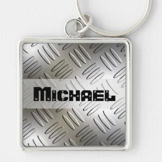 Personalized Metal Diamond Plate Keychain
