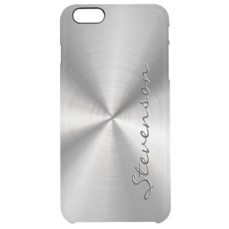Personalized Metallic Radial Stainless Steel Look Clear iPhone 6 Plus Case