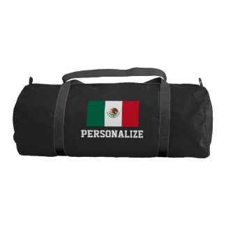 Personalized Mexican flag duffle gym bag | Mexico