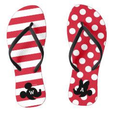 Personalized Mickey & Minnie Silhouette Flip Flops at Zazzle