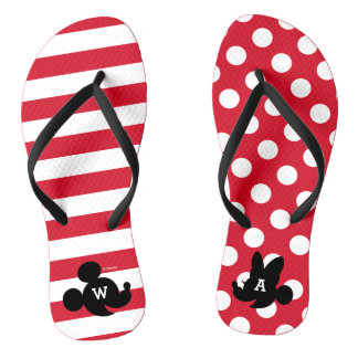 Personalized Mickey & Minnie Silhouette Flip Flops