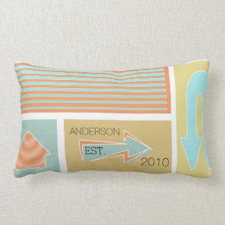 Personalized Mid-Century Aqua Coral Arrows Pillows
