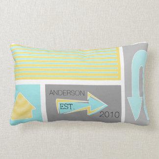 Personalized Mid-Century Grey Yellow Arrows Throw Pillows