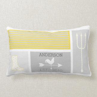 Personalized Mid-Century Grey Yellow Farm Pillows