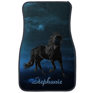 Personalized Midnight Black Stallion Car Floor Mat