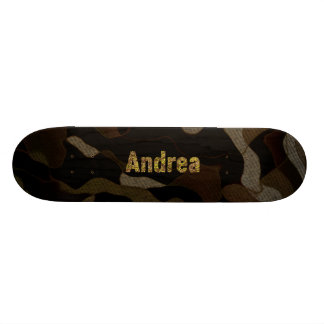 Personalized Military Camouflage Font Andrea Skateboard Deck