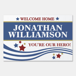 Personalized Military Welcome Home Lawn Signs