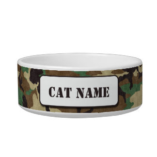 Personalized Military Woodland Camouflage Cat Bowl