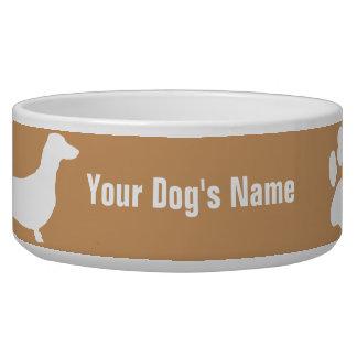 Personalized Miniature Dachshund ミニチュア・ダックスフンド Dog Food Bowls