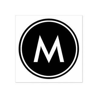 Personalized Minimal White Monogram Black Circle Rubber Stamp