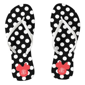 Personalized Minnie Black and White Polka Dot Flip Flops