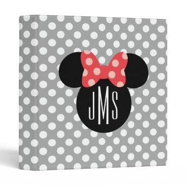 Disney Themed Personalized Minnie Polka Dot Head Silhouette Binder
