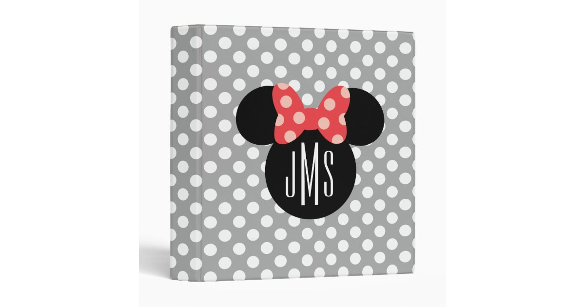 Personalized Minnie Polka Dot Head Silhouette Binder