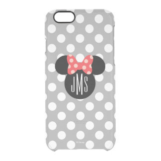 Personalized Minnie Polka Dot Head Silhouette Clear iPhone 6/6S Case
