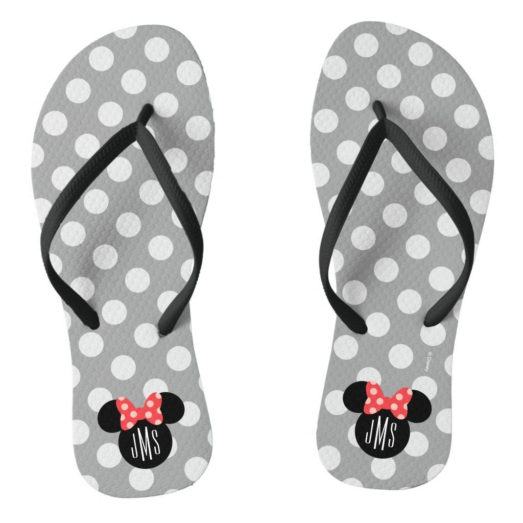 Personalized Minnie Polka Dot Head Silhouette Flip Flops