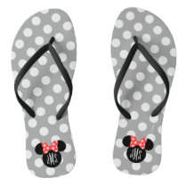 Personalized Minnie Polka Dot Head Silhouette Flip Flops