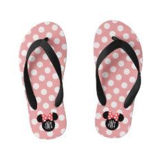 Personalized Minnie Polka Dot Head Silhouette Kid's Flip Flops at Zazzle