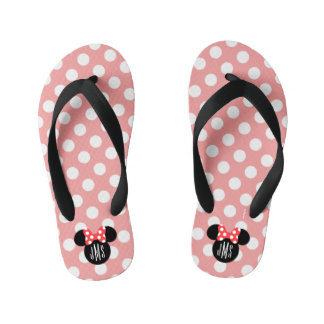 Personalized Minnie Polka Dot Head Silhouette Kid's Flip Flops