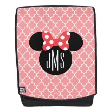 Disney Themed Personalized Minnie Quatrefoil Head Silhouette Backpack