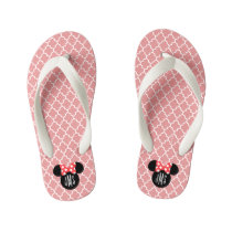 Personalized Minnie Quatrefoil Head Silhouette Kid's Flip Flops