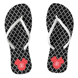 Personalized Minnie Quatrefoil Pattern Flip Flops