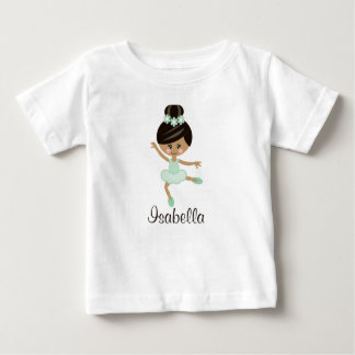 Personalized Mint African American Ballerina Baby Baby T-Shirt